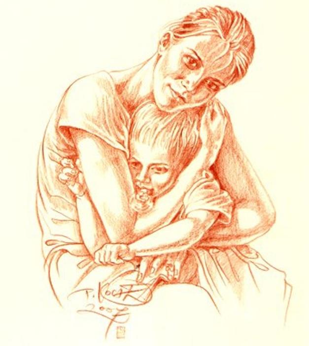 Парень обнимает девушку на кровати – Рисунок спящей влюбленной пары лежащей на кровати лицом друг к другу. Мужчина обнимает девушку за голову положив руку ей на волосы.